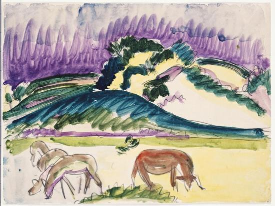 Cows in the Pasture by the Dunes, 1913-Ernst Ludwig Kirchner-Giclee Print