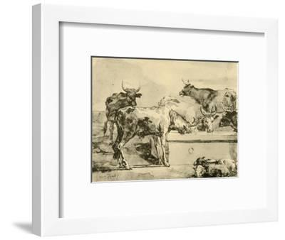 'Cows watering', mid-late 18th century, (1928)-Giovanni Domenico Tiepolo-Framed Giclee Print
