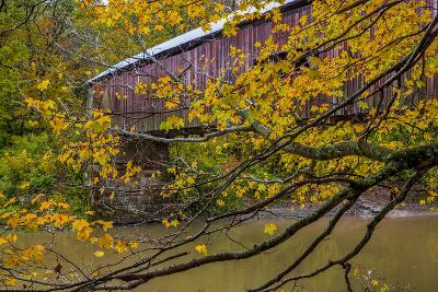 Cox Ford Covered Bridge over Sugar Creek in Parke County, Indiana-Chuck Haney-Photographic Print