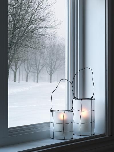 Cozy Lanterns and Winter Landscape Seen Through the Window-GoodMood Photo-Photographic Print