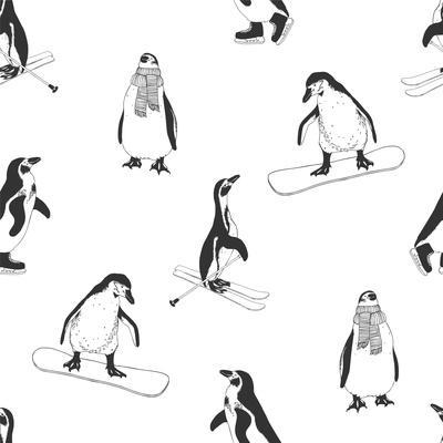 Seamless Pattern - Penguins. Winter Sports. Black and White
