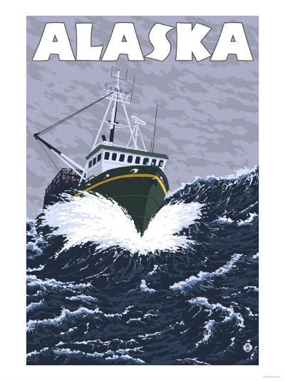 Crab Boat, Alaska-Lantern Press-Art Print