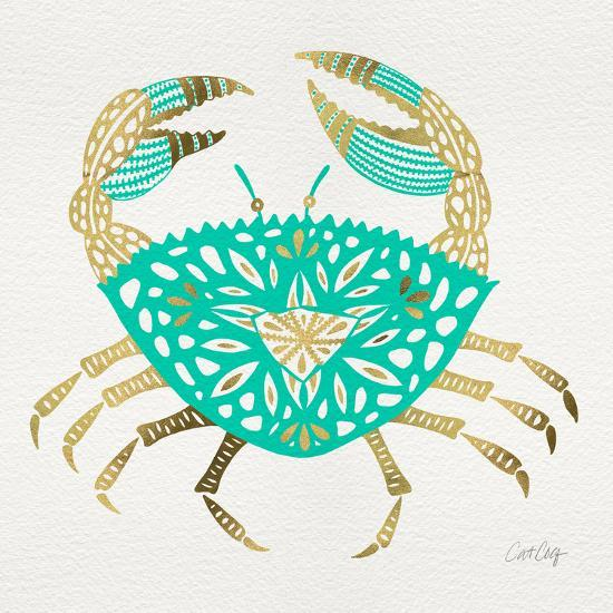 Crab in Gold and Turquoise-Cat Coquillette-Giclee Print