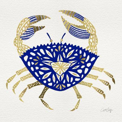 Crab in Navy and Gold-Cat Coquillette-Giclee Print