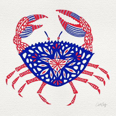 Crab in Red and Navy-Cat Coquillette-Giclee Print