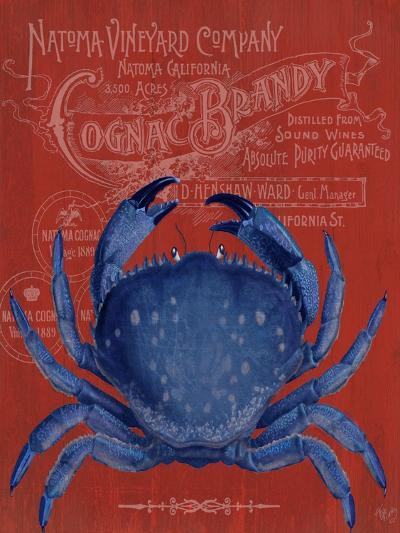 Crab Prohibition Crab On Red-Fab Funky-Art Print