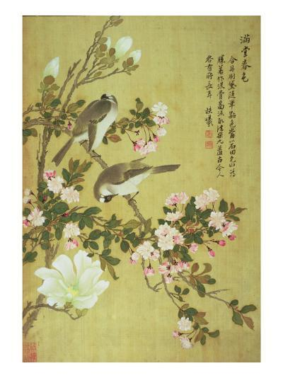 Crabapple, Magnolia and Baitou Birds-Ma Yuanyu-Giclee Print