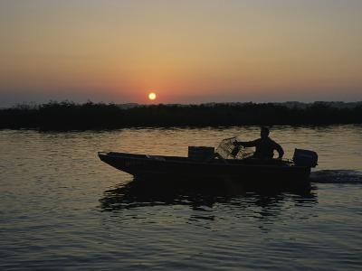 Crabbing off Delacroix Island at Sunrise-Medford Taylor-Photographic Print