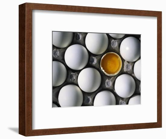 Cracked Egg in the Middle of Other Eggs-Mitch Diamond-Framed Photographic Print