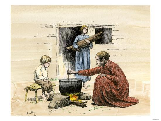 Cracker Women Cooking Outside their Poor, Rural Cabin in Georgia, Late  1800s Giclee Print by | Art com