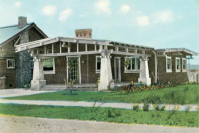 Craftsman House with Pillars--Art Print