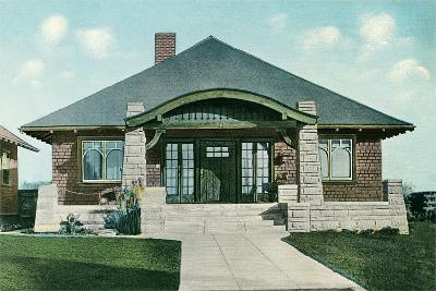Craftsman House with Rock Pillars--Art Print