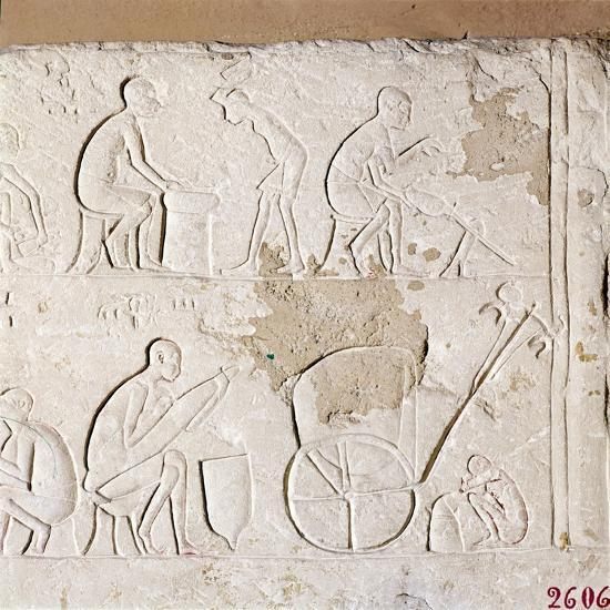 Craftsmen at Work, Blacksmiths, Carriage-Maker and one asleep, c1372BC-1354BC-Unknown-Giclee Print