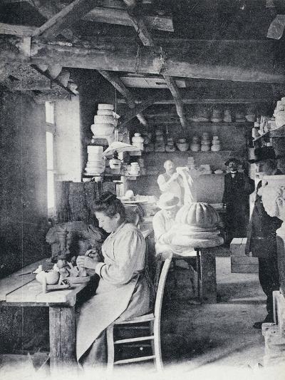 Craftsmen at Work Making Vallauris Art Pottery, Circa 1900, Postcard, France--Giclee Print