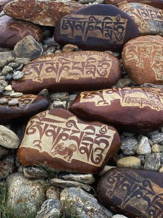 Buddhist Prayers on Carved Mani Stones in Tibet