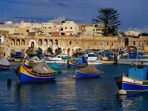 Luzzus, Traditional Fishing Boats Moored in Harbour, Marsaxlokk, Malta by Craig Pershouse