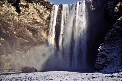 skogafoss Falls Rainbow 3