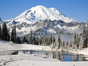 First winter snow at Mount Rainier and Tipsoo Lake, Mount Rainier National Park, Washington State by Craig Tuttle