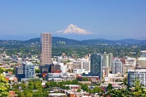 Mt.Hood over Portland Skyline from West Hills, Portlan, Oregon by Craig Tuttle