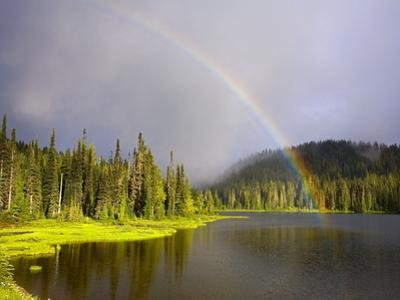 Rainbow Over Reflection Lakes in Mt. Rainier National Park by Craig Tuttle