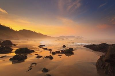 Sunrise over Crescent Beach, Oregon Coast, Pacific Ocean, Pacific Northwest by Craig Tuttle