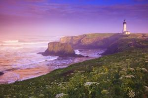 Sunrise Thru Fog, Yaquina Head Lighthouse, Oregon Coast. Pacific Northwest, United States by Craig Tuttle