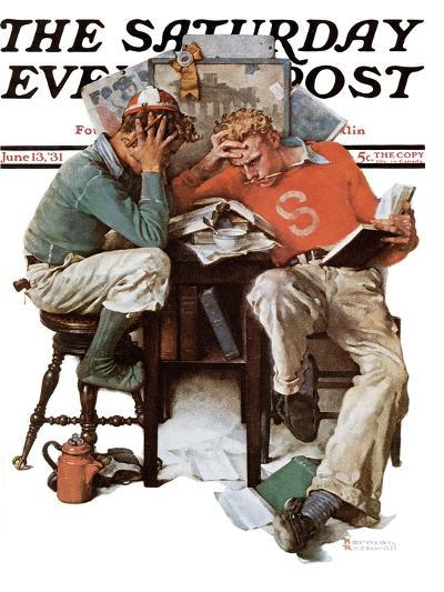 """Cramming"" Saturday Evening Post Cover, June 13,1931-Norman Rockwell-Giclee Print"