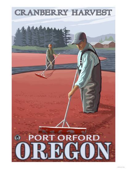 Cranberry Bogs Harvest, Port Orford, Oregon-Lantern Press-Art Print