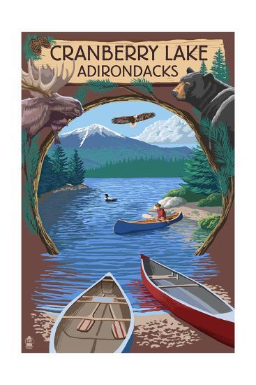 Cranberry Lake, New York - Adirondacks Canoe Scene-Lantern Press-Art Print