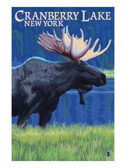 Cranberry Lake, New York - Moose at Night-Lantern Press-Art Print