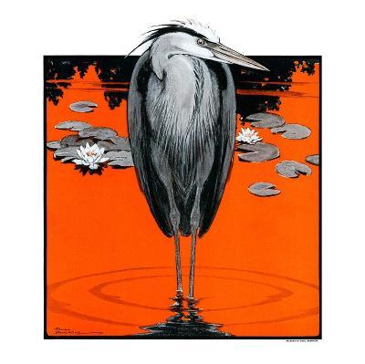 """""""Crane and Lilly Pads,""""May 3, 1924-Paul Bransom-Giclee Print"""