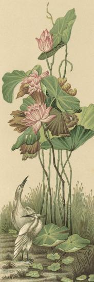 Crane and Lotus Panel I-Racinet-Art Print