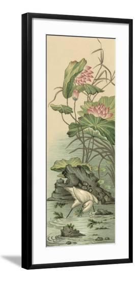 Crane and Lotus Panel II-Racinet-Framed Art Print