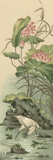 Crane and Lotus Panel II-Racinet-Art Print