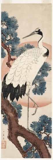 Crane in Pine Tree at Sunrise, 1850-55-Utagawa Hiroshige-Giclee Print