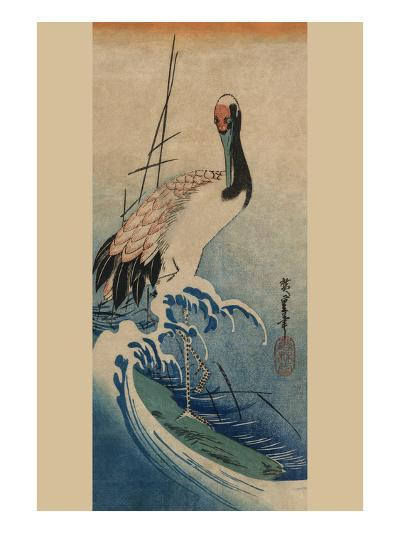 Crane in Waves-Ando Hiroshige-Art Print
