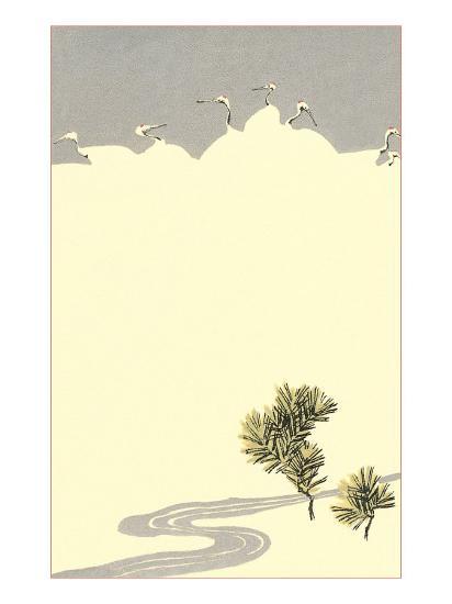 Cranes and Pines--Art Print