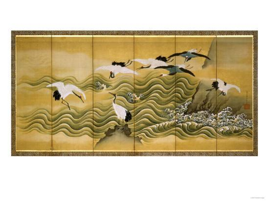 Cranes and Wave, Ink, Colour and Gold on Silk-Tani Bunchu-Giclee Print