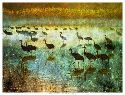 Cranes in Mist I-Chris Vest-Giclee Print