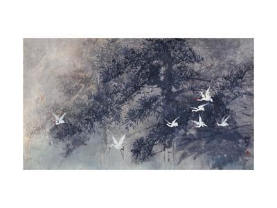 Cranes in Pinewood-Haizann Chen-Giclee Print