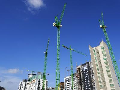 Cranes on an Apartment Building Site, Manchester, England, United Kingdom, Europe-Richardson Peter-Photographic Print