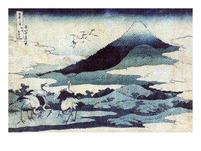 Cranes on the Ground and in Flight with Mount Fuji in the Background, Japanese Wood-Cut Print-Lantern Press-Art Print