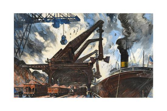 Cranes Unload Iron Ore from Great Lakes Steam Ships-Thornton Oakley-Giclee Print