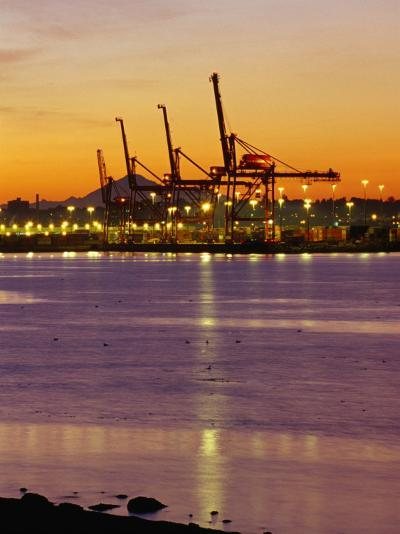 Cranes Unloading Cargo at Burrard Inlet at Dawn, Vancouver, Canada-Ryan Fox-Photographic Print