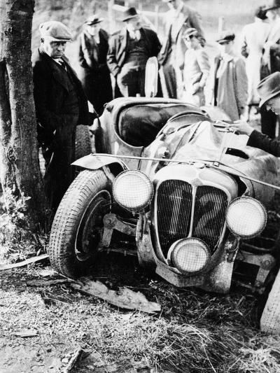 Crash of the Le Mans 24 Hours Winner at Spa, Belgium, 1938--Photographic Print