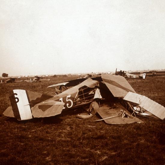 Crashed plane, c1914-c1918-Unknown-Photographic Print