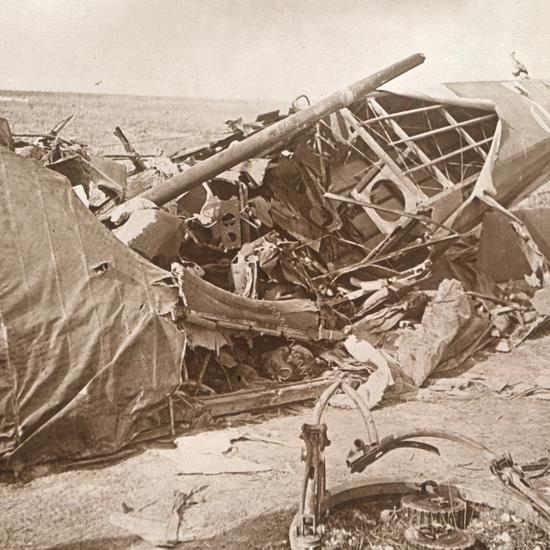 Crashed plane, Sainte-Marie-à-Py, northern France, c1914-c1918-Unknown-Photographic Print