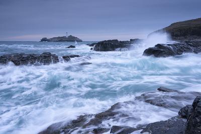 Crashing Atlantic Waves Near Godrevy Lighthouse, Cornwall, England. Winter (February)-Adam Burton-Photographic Print