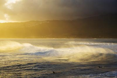 Crashing Wave and Ocean Spray Illuminated by Evening Light-Design Pics Inc-Photographic Print