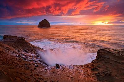Crashing Waves Sunset-Lantern Press-Art Print